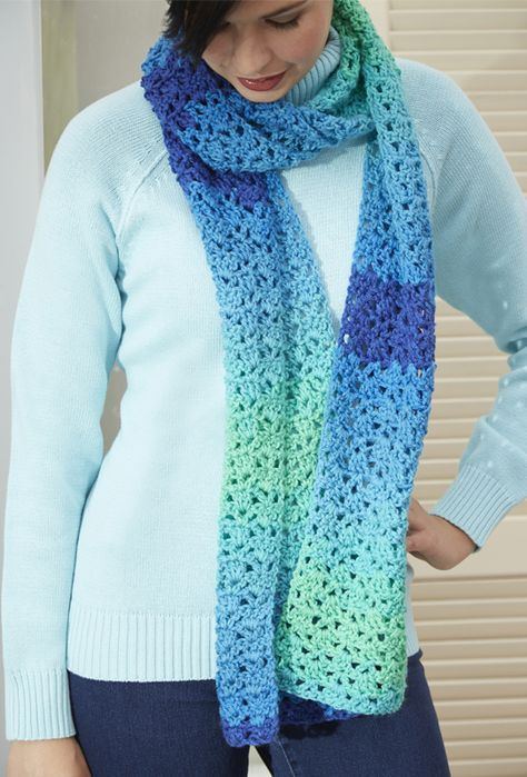Cozy Up In New Crochet Scarf Made With Red Heart Super Saver Stripes