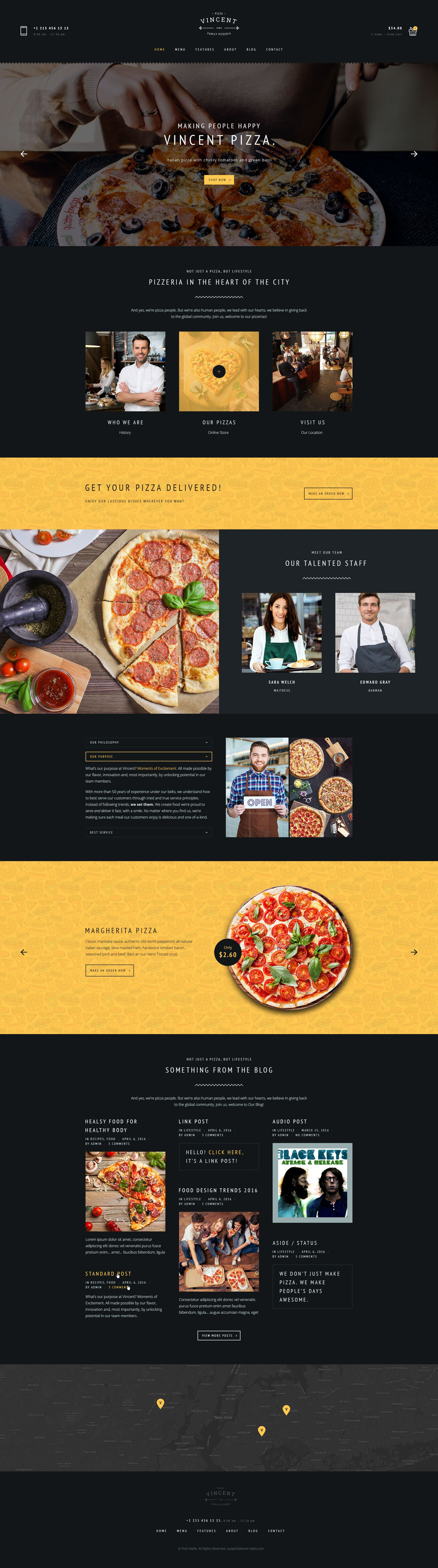 Vincent Restaurant And Online Ordering Ecommerce Psd