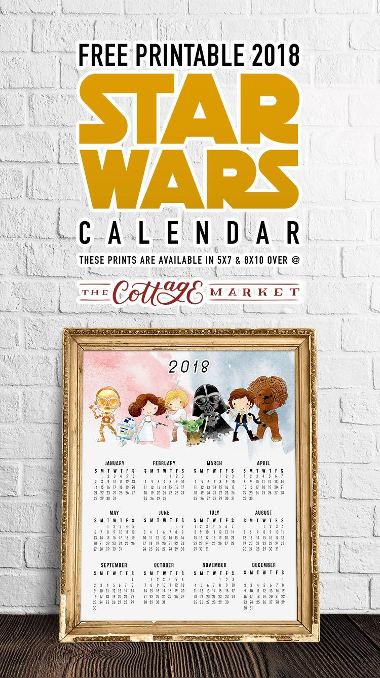free printable 2018 star wars calendar one page original trilogy