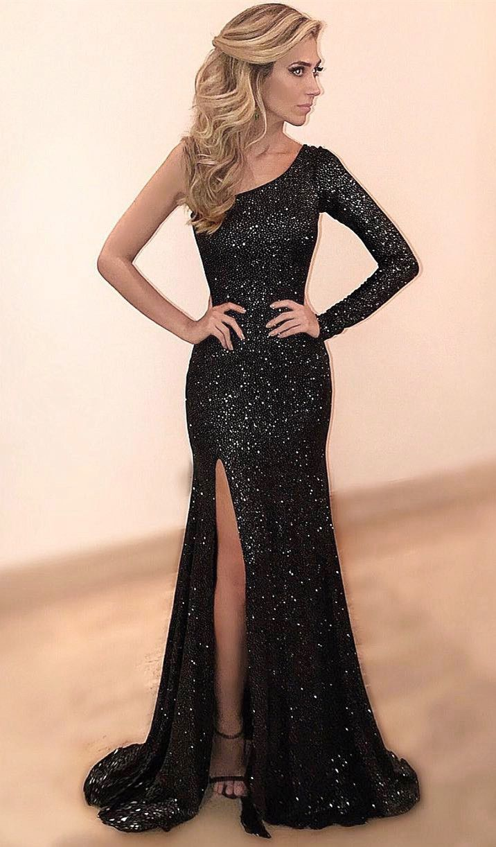 Sheath One Shoulder High Split Black Sequined Prom Dress Cheap