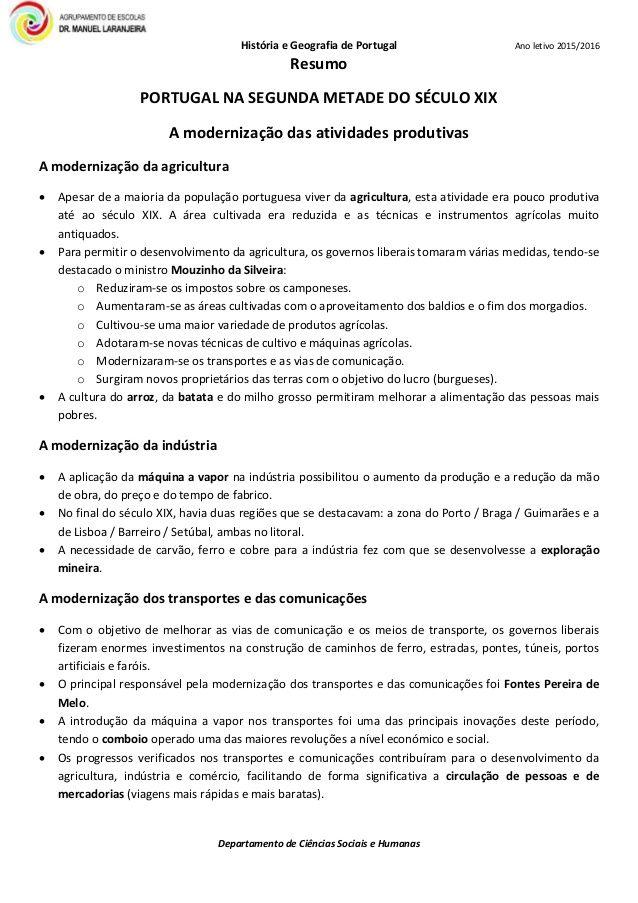 Resumo Portugal Na 2ª Metade Do Seculo Xix Resumo Historia Ciencias Sociais