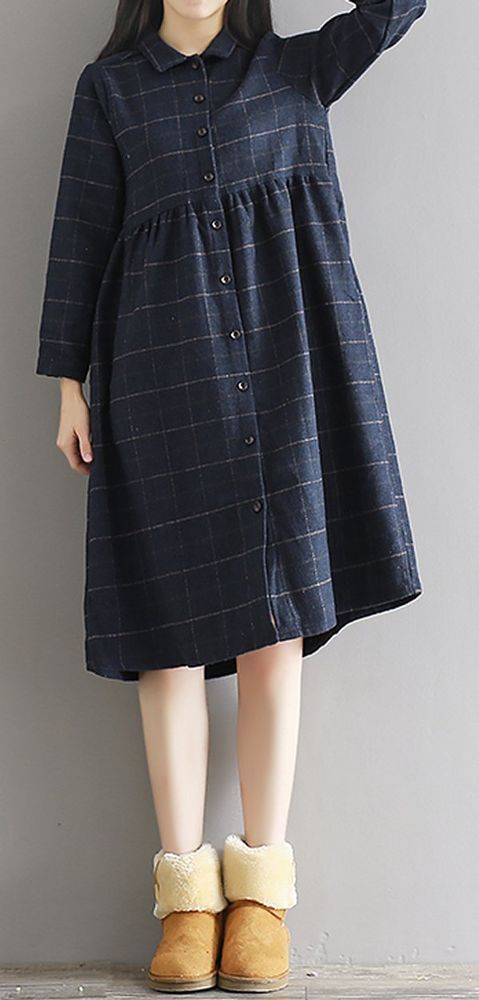 Women loose fitting over plus size checkers dress thick long sleeve tunic chic #Unbranded #dress #Casual