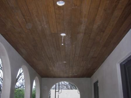 Porch Ceiling. Covered Terrace Ceiling Is Tongue And Groove Stained  Pine .