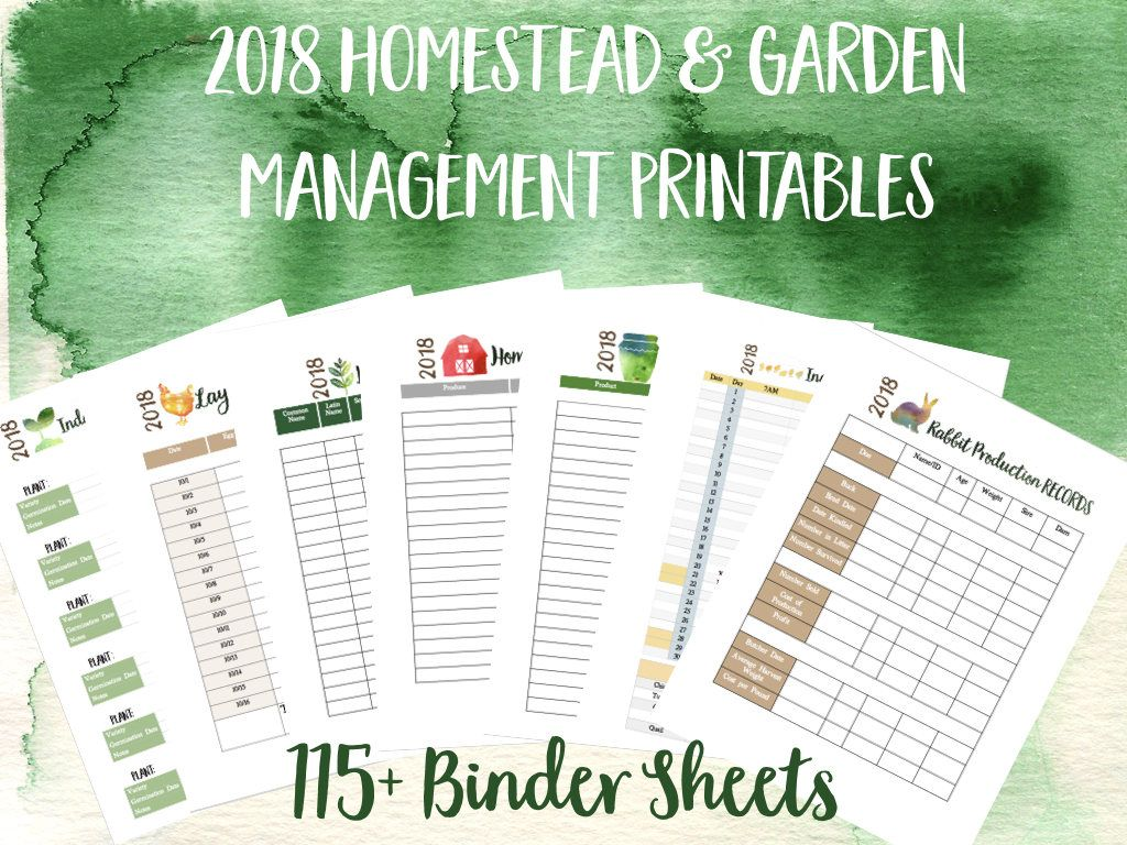 Homestead And Garden Management Printables