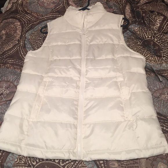 Cream vest Cream puffy vest Jackets & Coats Vests