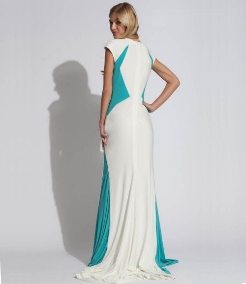 Beautiful long white blue prom dress 2014 by Jovani with high ...