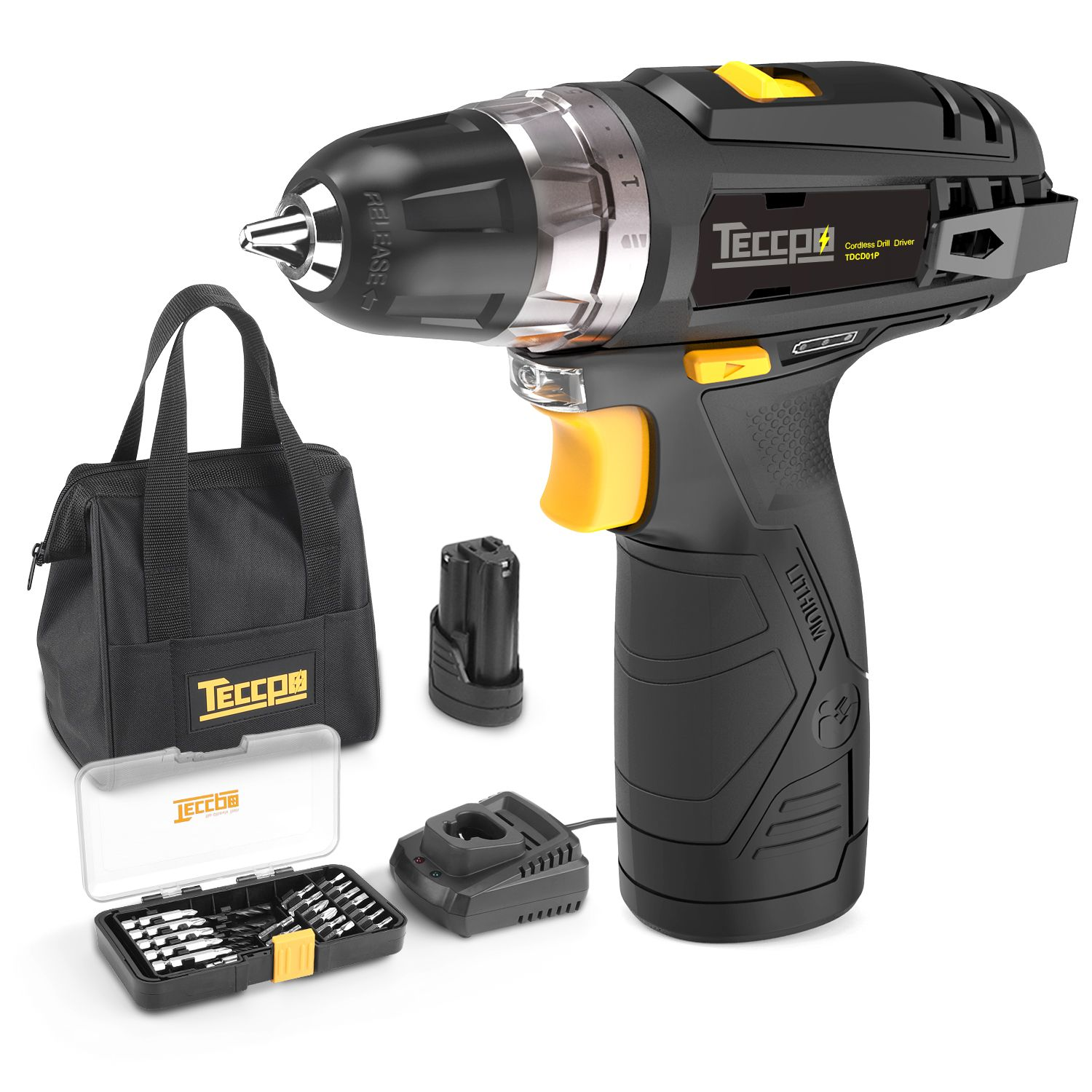 Cordless Drill Teccpo 12v Drill Driver 2pcs 2 0ah Li Ion Batteries Torque 265in Lbs 1 Hrs Fast Charger 2 Speed 20 1 Torque Setting 29pcs Accessories And W