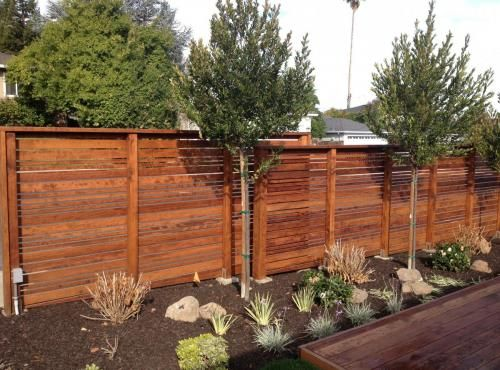 Horizontal Redwood Fence Google Search Redwood Fence Fence Brick Columns