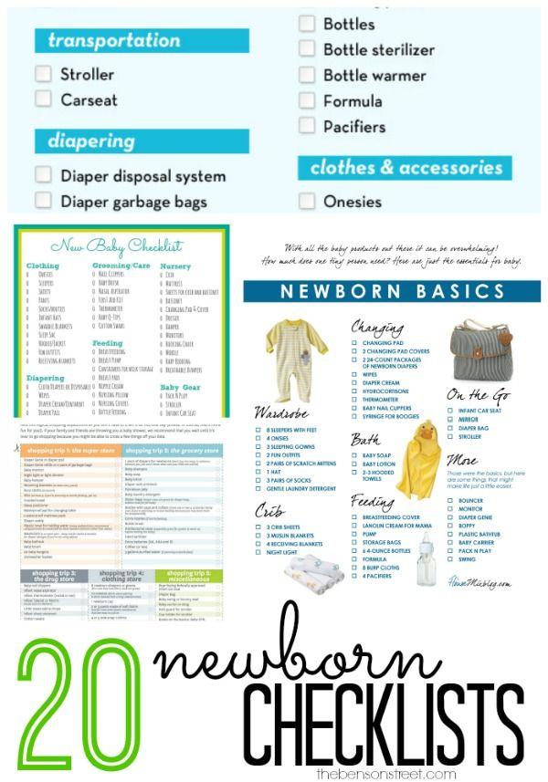20 Newborn Checklists Baby newborn, Babies and Pregnancy - newborn checklist