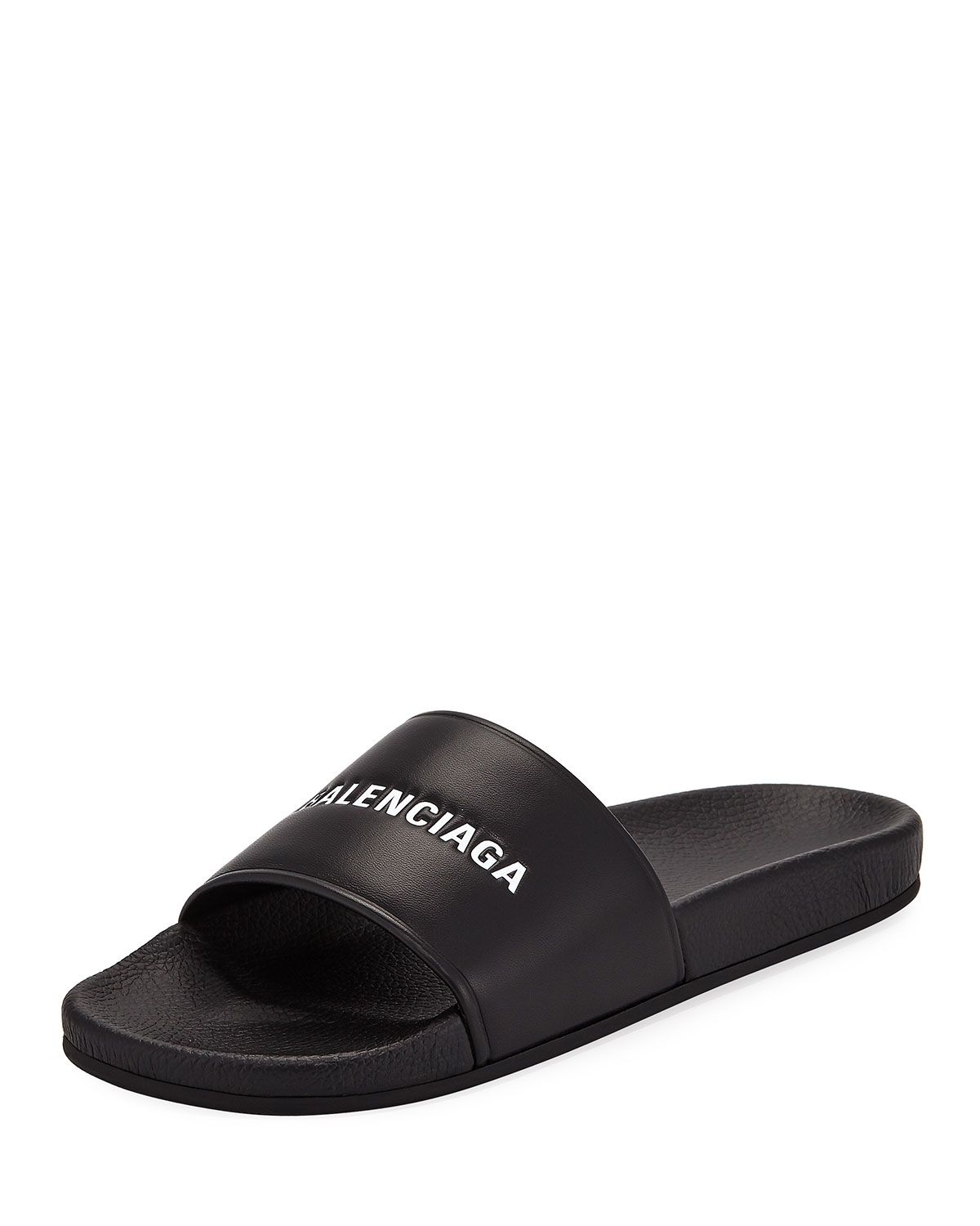 39a2a663530 BALENCIAGA EMBOSSED LOGO POOL SLIDE SANDAL.  balenciaga  shoes ...