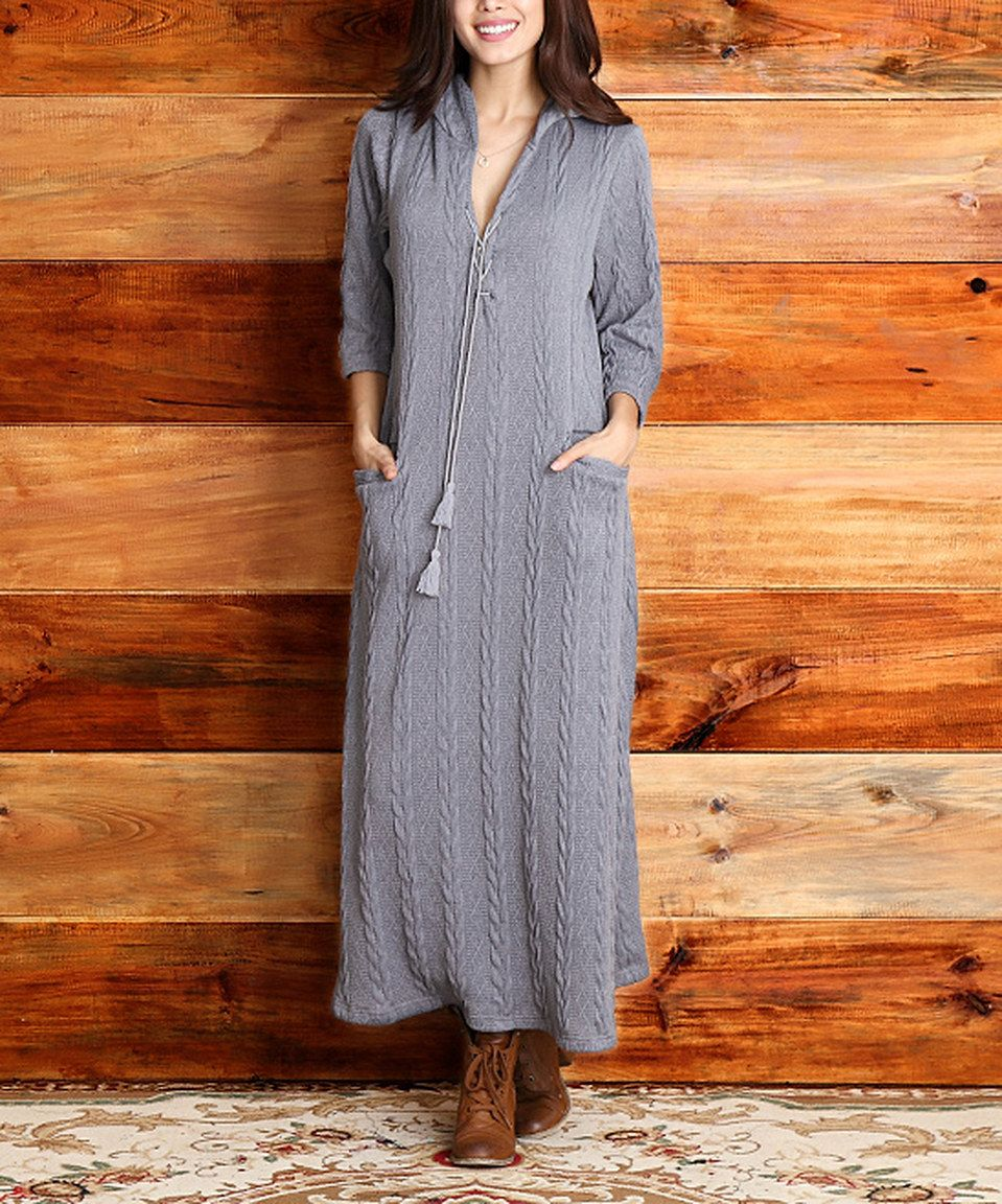 Look what i found on zulily gray cableknit hooded maxi dress by