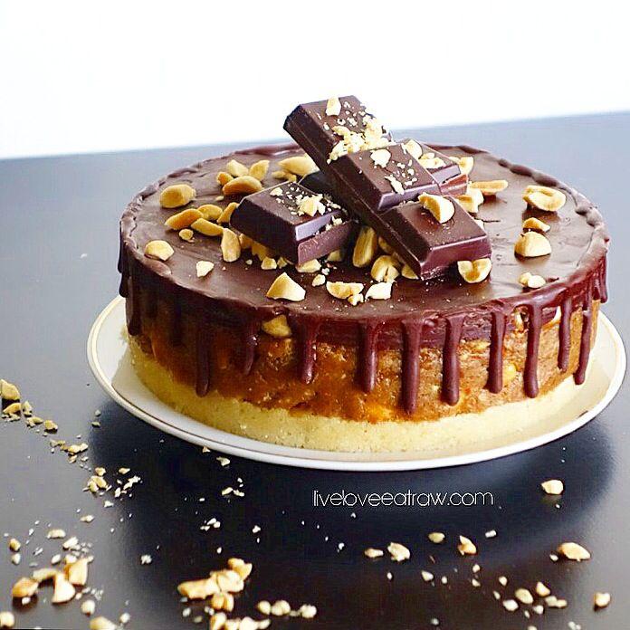 Raw Snickers Birthday Cake Find The Recipe On Liveloveeatraw