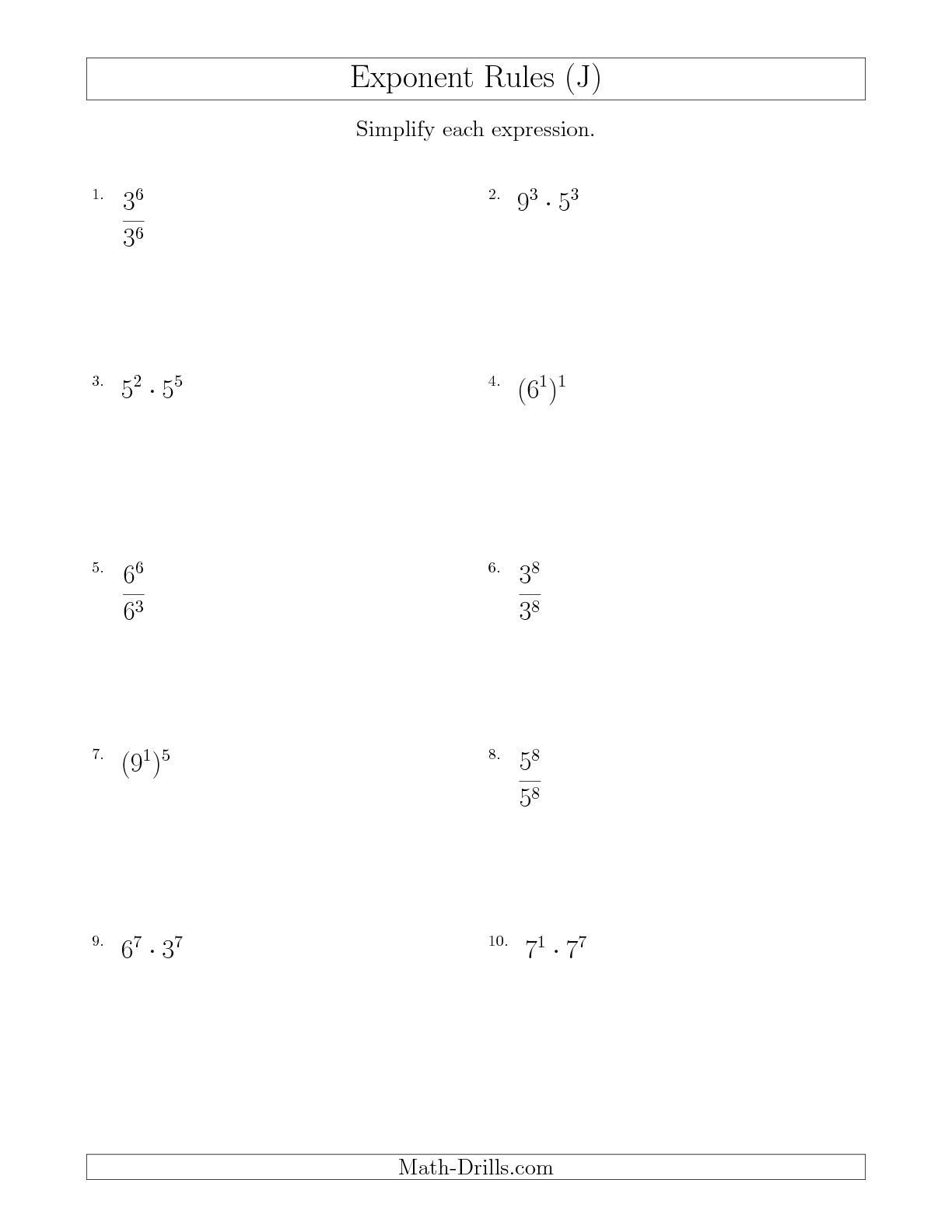 Mixed Exponent Rules All Positive J Math Worksheet Freemath