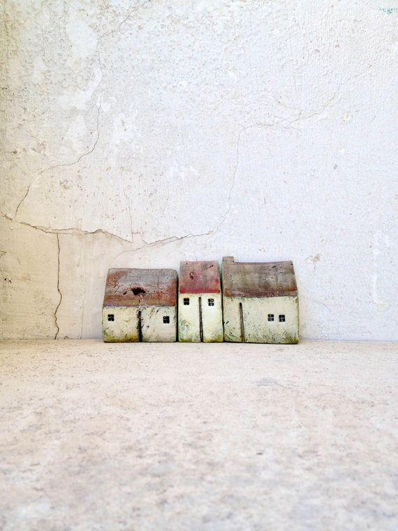 Ceramic houses set houses miniature houses home by VesnaGusmanArt