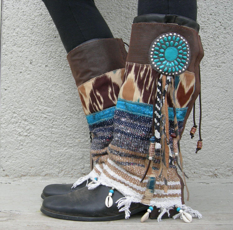 Reserved for Meret- LAST PAIR Desert Dancer- TALL Fringe Tribal Boot cuffs. via Etsy.