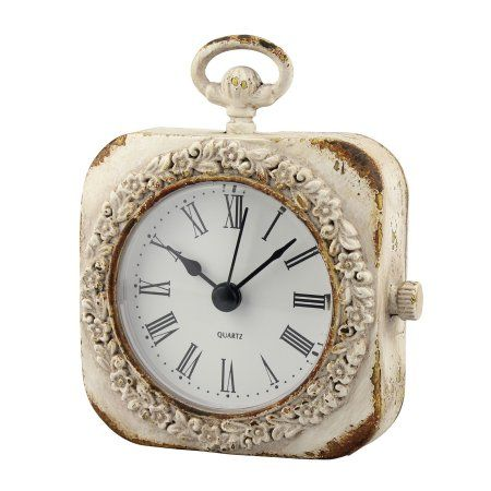 Small Weathered White Tabletop Clock White Table Top Tabletop