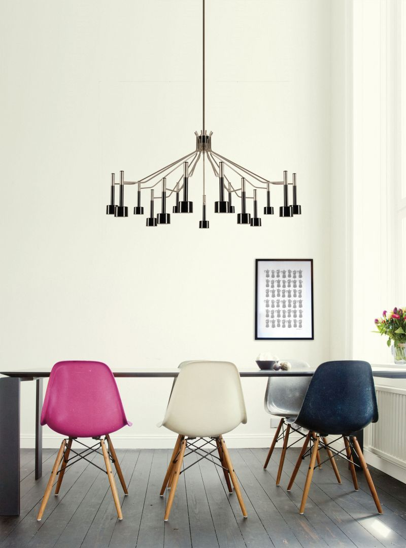 Home design ideas / Home inspirations |  Different chairs and bold lighting will help you achieving the perfect dining room. Ella Chandelier is a DelightFULL's creation.