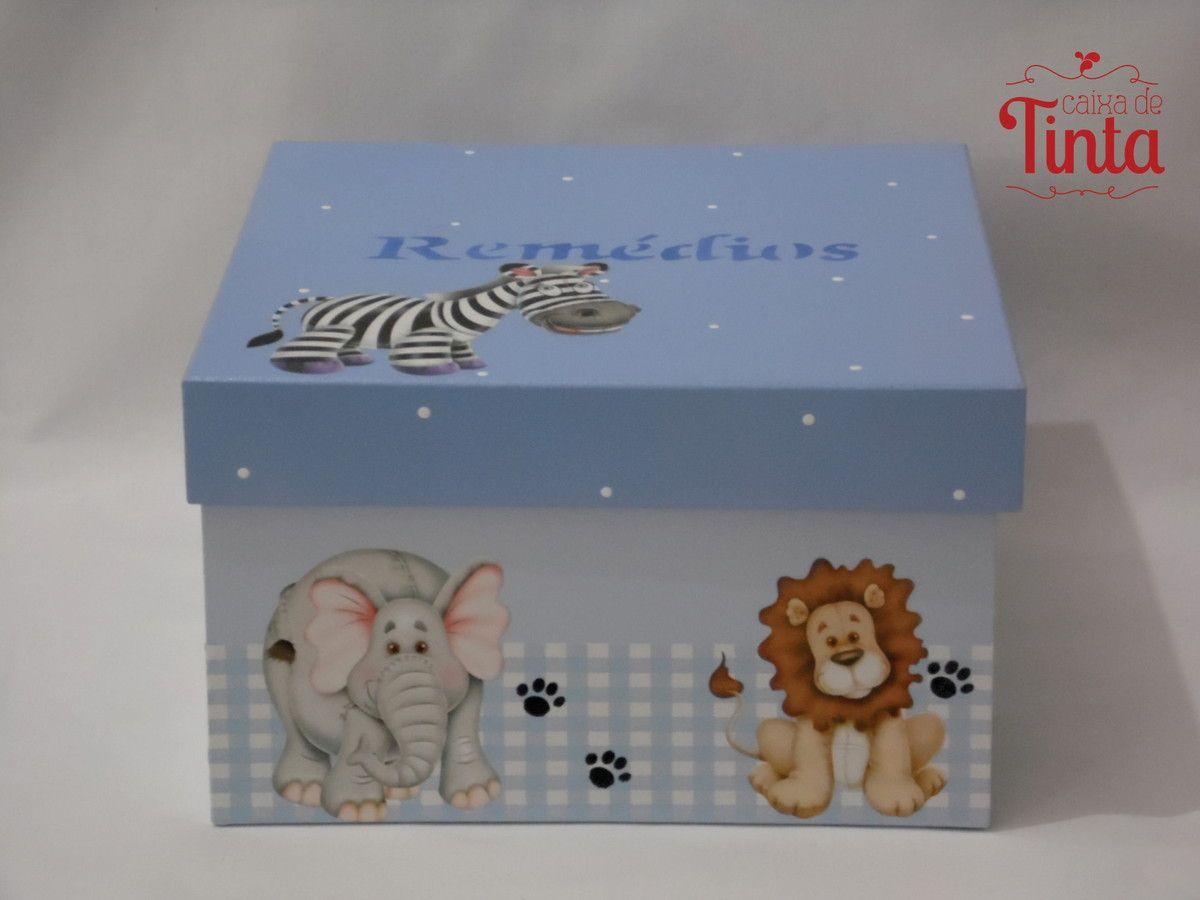 Caixa Porta Remedios Safari Caixas Pintadas Caixa De Remedios