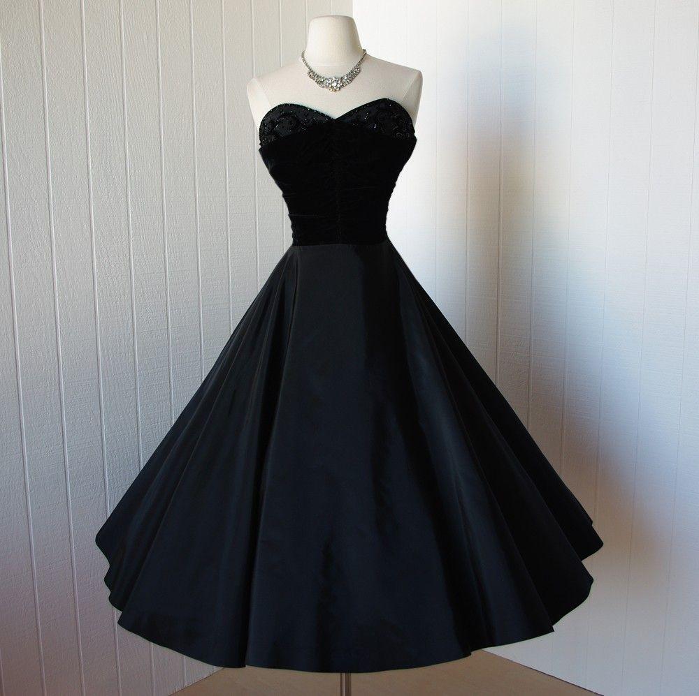 Vintage s dress exquisite black taffeta and velvet beaded