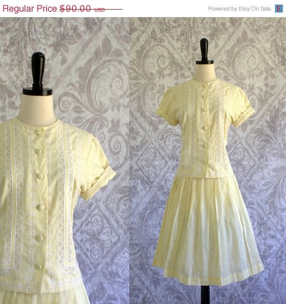 1950s Pale Yellow Eyelet and Lace Blouse and Full Pleated Skirt Set $72.00