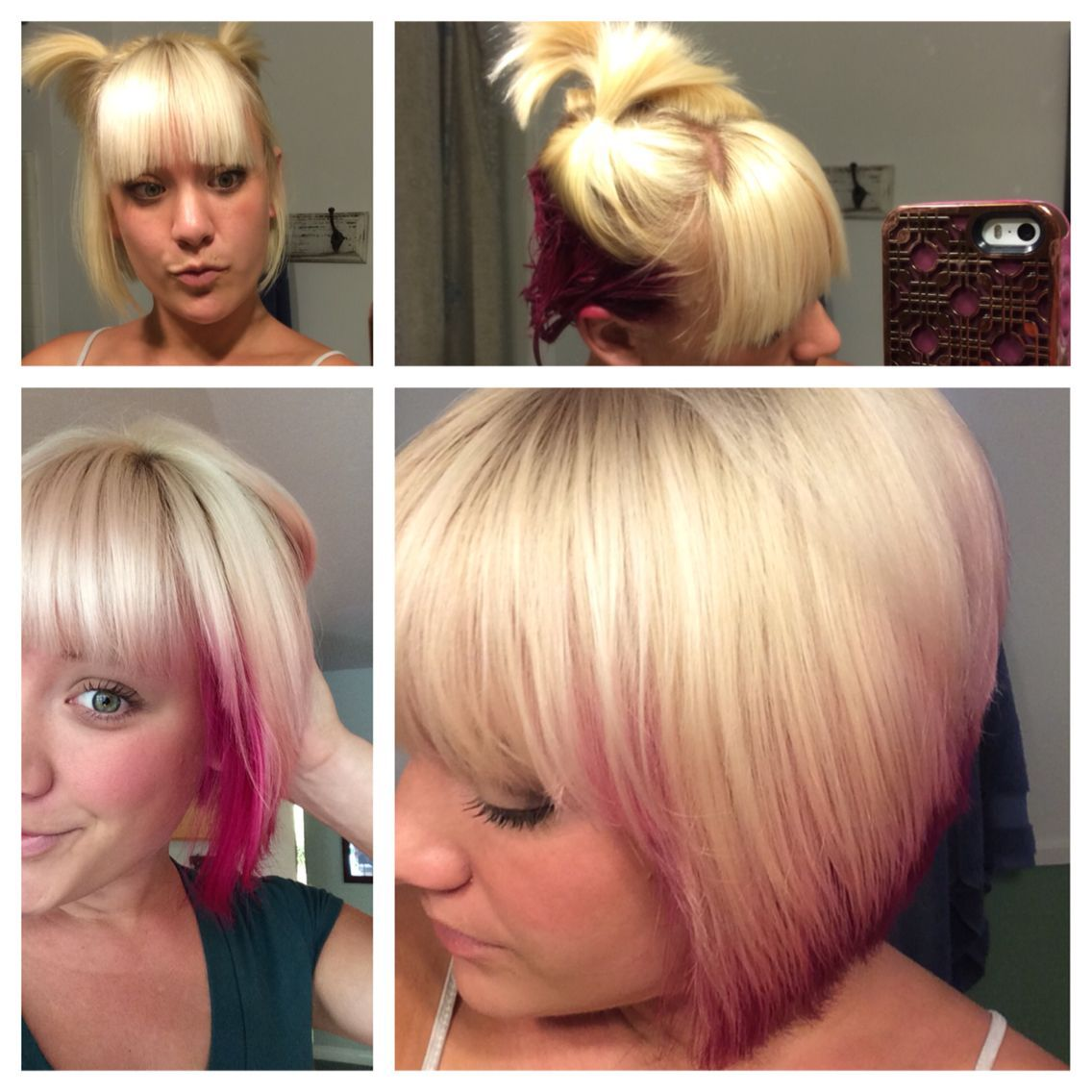 Best hairstyle for square faces arabic hairstyles fine hair and diy pink and blonde tasteful under color on a blonde bob used punky color solutioingenieria Image collections