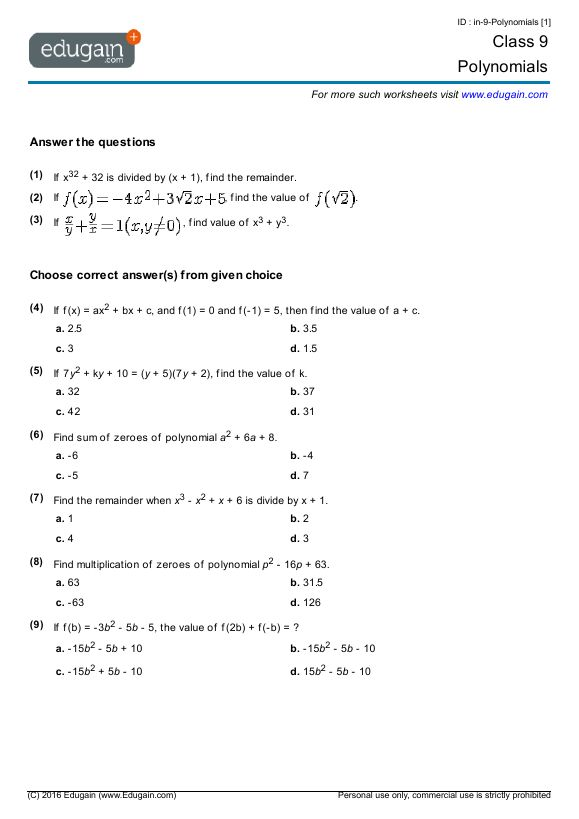 Polynomials Class 9 Worksheet Pdf With Answers ...