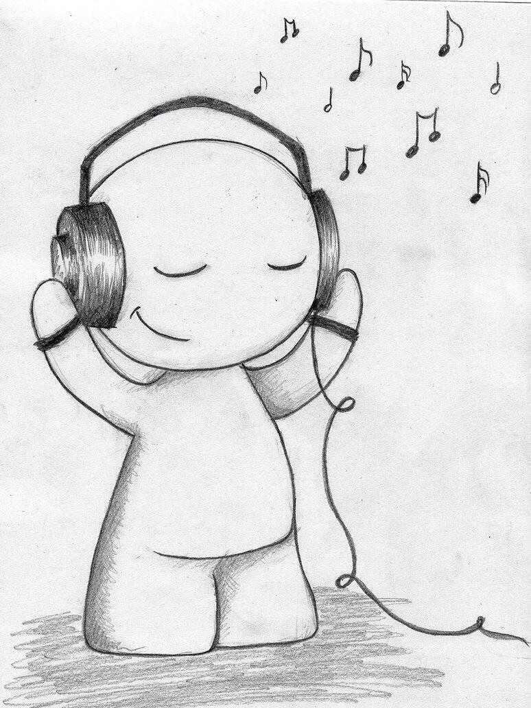 Stick Figure Headphones Guy 12 23 15 Easy Drawings Sketches Music Drawings Easy Charcoal Drawings
