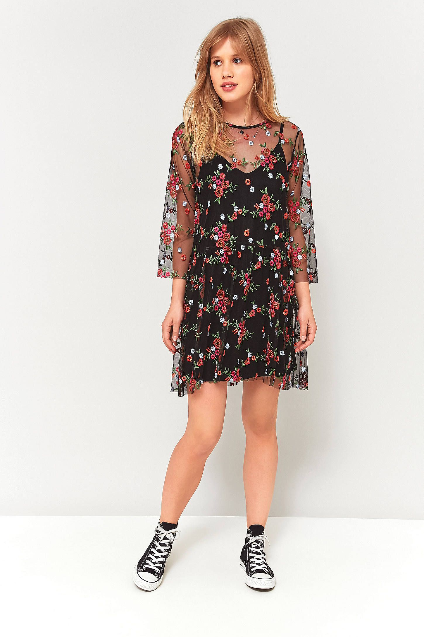 Pins And Needles Clothing Pins & Needles Floral Embroidery Mesh Smock Dress  Floral