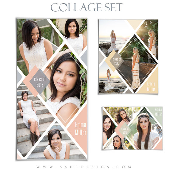 senior collage template set diamonds 3 photoshop by ashedesign yearbook senior ads pinterest. Black Bedroom Furniture Sets. Home Design Ideas