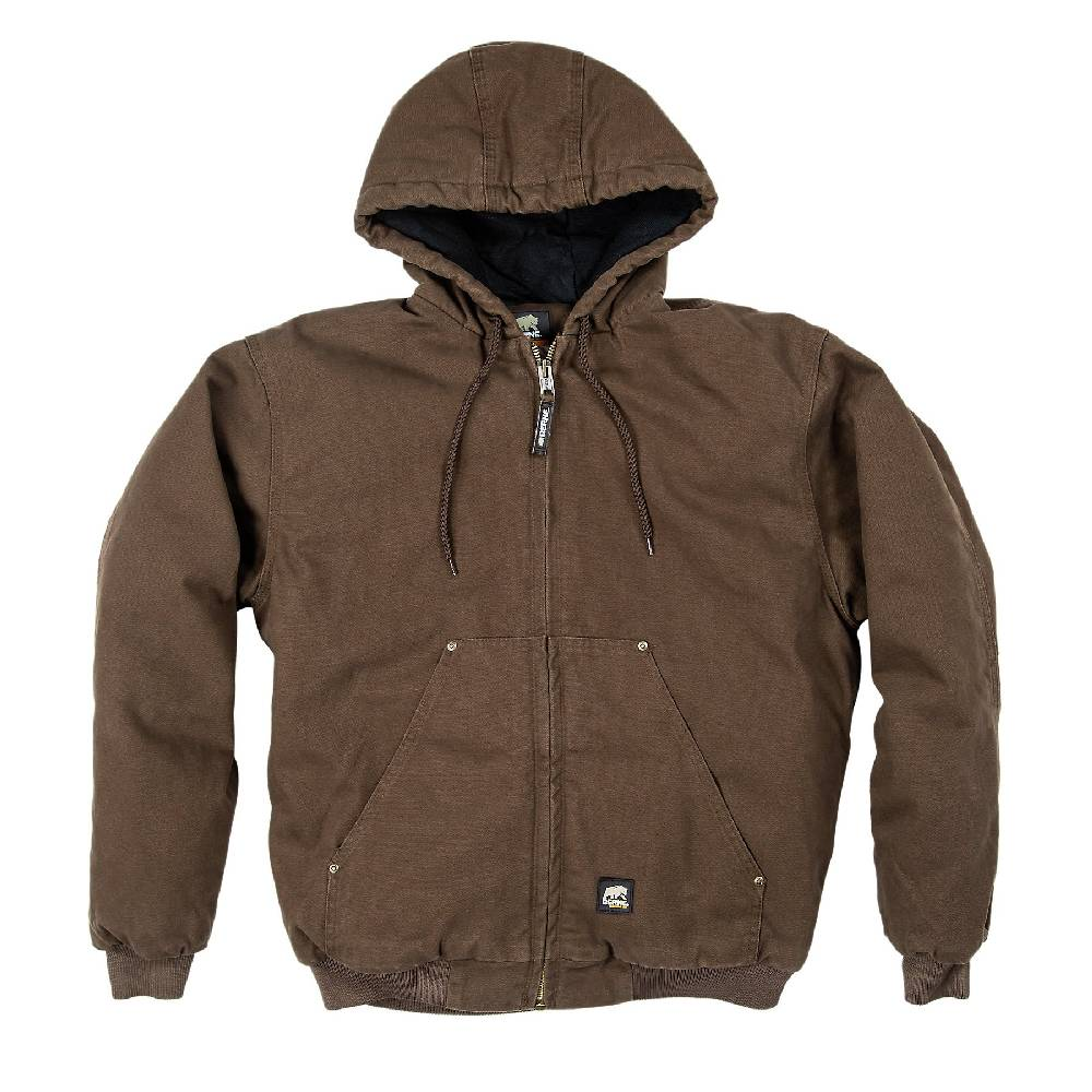 men s berne original washed duck hooded jacket bark work on men s insulated coveralls with hood id=40297