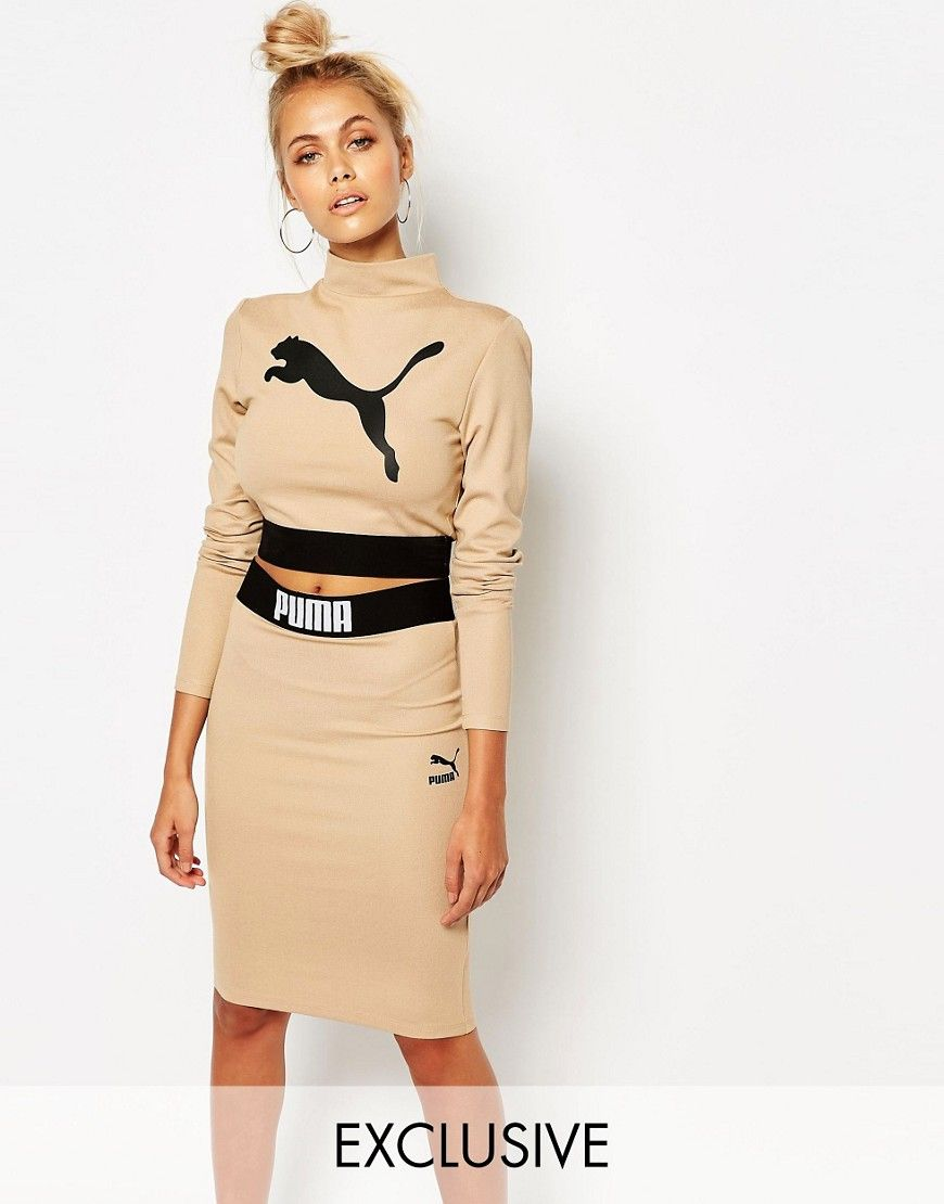 Puma camel long sleeve crop top co ord casual outfits - Beige kombinieren ...