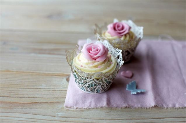 Rose Cupcake with butterfly wrappers from Estella Cupcakes