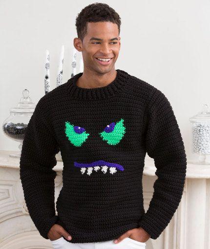 7feeeef0e22e Monster Face Sweater Free Crochet Pattern from Red Heart Yarns