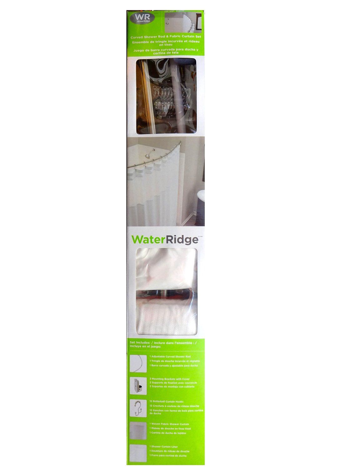 Amazon water ridge curved shower rod and fabric curtain set