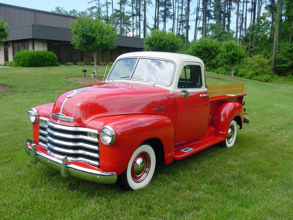 Vintage Red White Pickup Truck With Images Pickup Trucks