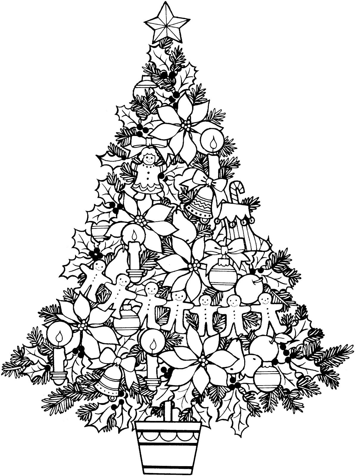 christmas icons black and white Christmas tree coloring page