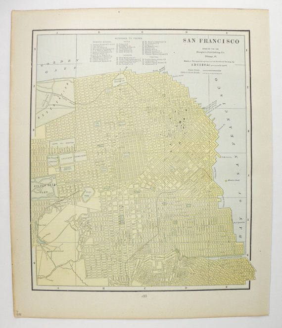 Vintage Map San Francisco Gift New Orleans Map 1888 US City Street