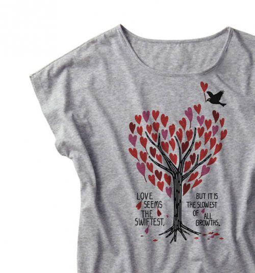 【注意!薄手生地】ハートフル・ツリー ドルマンTシャツ 女性M.L【受注生産品】