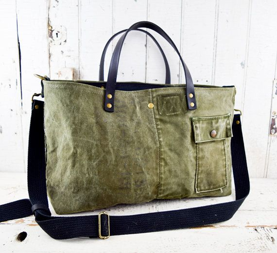 MILITARY Bag Tote US WWII Era Reclaimed Mens by 1770mercantile