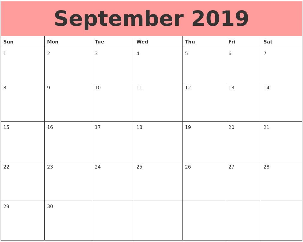 September 2019 Calendar Calendar Template Desk Calendar