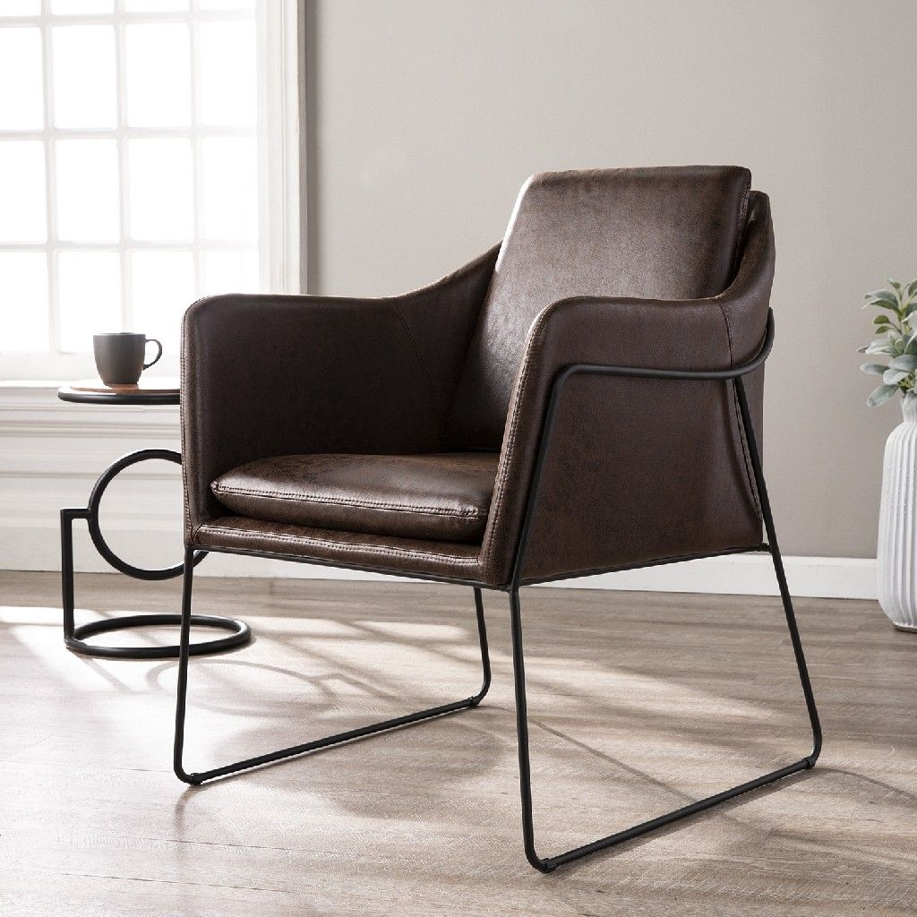 Kester distressed brown faux leather accent chair
