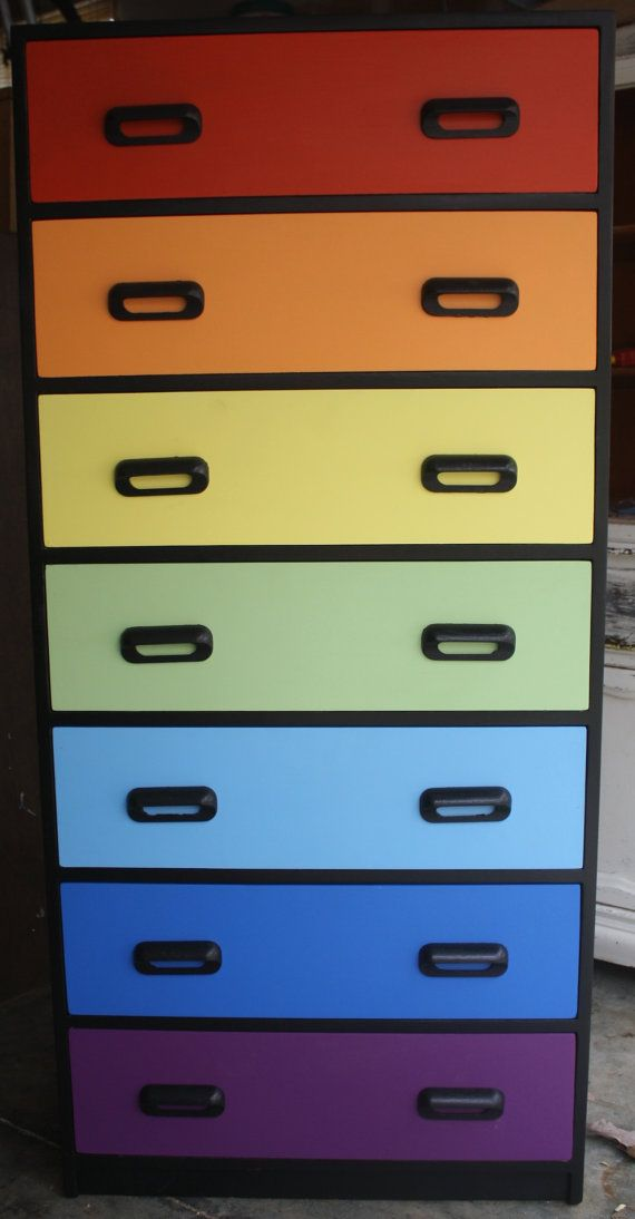 Over The Rainbow Painted Tall Dresser Chest By Gremlina On Etsy, $350.00