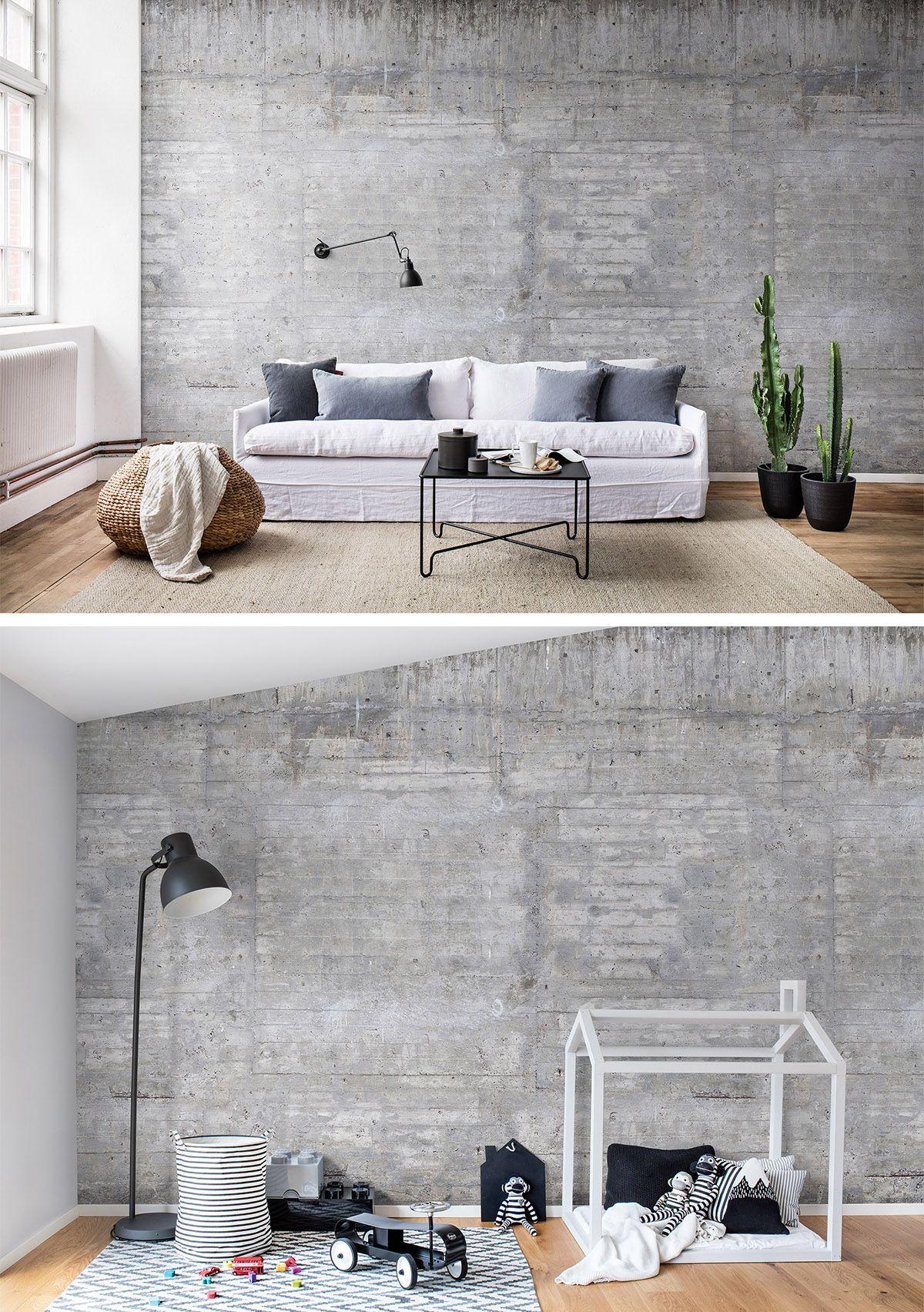 Wooden Concrete  Wandgestaltung tapete, Tapeten wohnzimmer