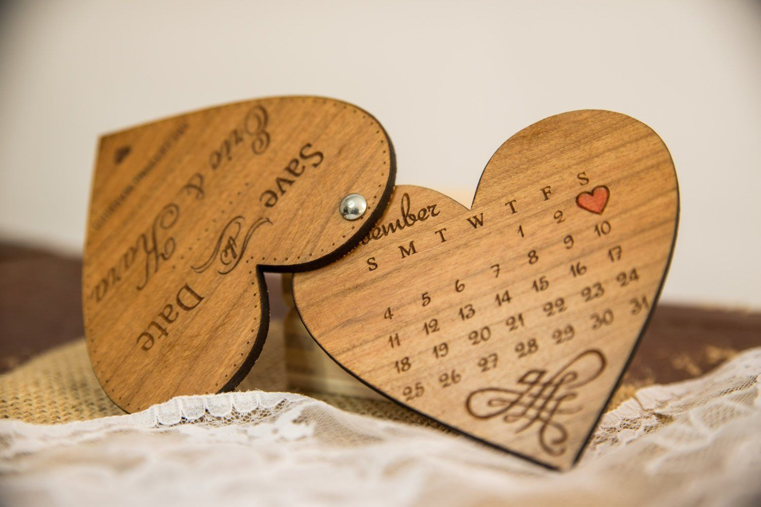 Wood SaveTheDate Engraved Wooden save the date