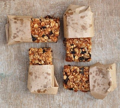 almond butter granola bars  1/2 cup almond butter  2 bananas, mashed    1/2 cup whole almonds  1/4 cup dried apricots  1/4 cup dried cherries  1/4 cup raisins    1/4 cup mixed seeds (eg. pumpkin, sunflower... whatever you have at hand)  1 cup rolled oats    Yields 12 bars