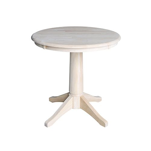 International Concepts Unfinished 30 Inch Straight Pedestal Dining