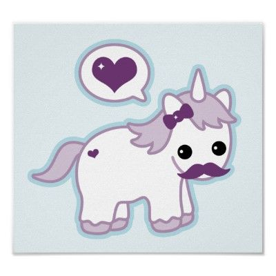 Kawaii Mustache Unicorn Poster from Zazzle.com | Cute ...