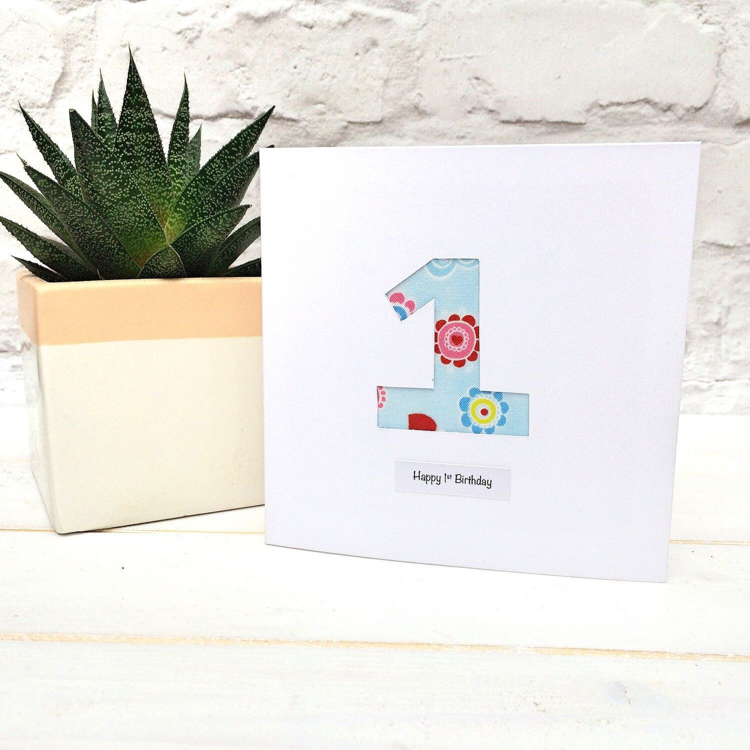 First birthday card with big number one from my Etsy shop https – Birthdays Card Shop Uk