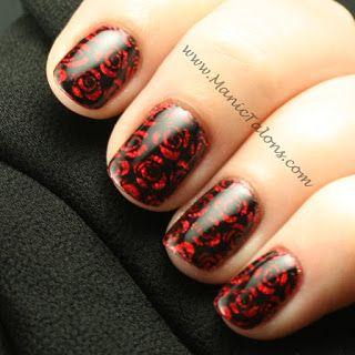 Black Velvet Roses Manicure