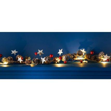 Light Up Red Berry Christmas Garland 190cm Xmas B M Christmas Garland Christmas Room Christmas Room Decor